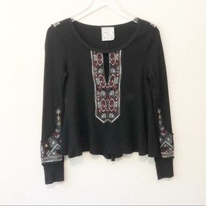 FREE PEOPLE thermal with embroidered front & cuffs